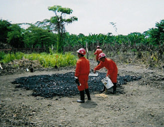Contaminated soil in Indonesia