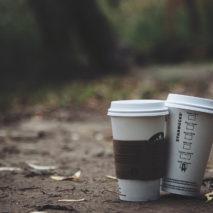 Starbucks drinks on autumn leaves